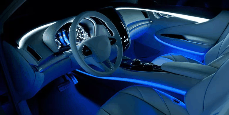 Stylish car interior with vehicle entertainment system